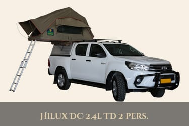 Autohuur Namibie TOYOTA DOUBLE CAB 4X4 2.4TD – CAMPING 2 pax